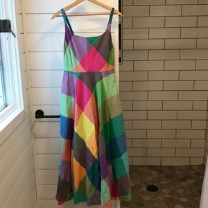 Vintage color block dress with pockets